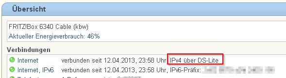 IPv4 Adresse über DS-Lite