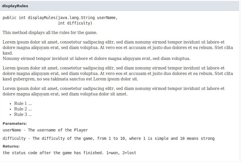 Javadoc Method Details